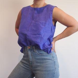 Vintage Violet Pocket Silk Blouse Button Up